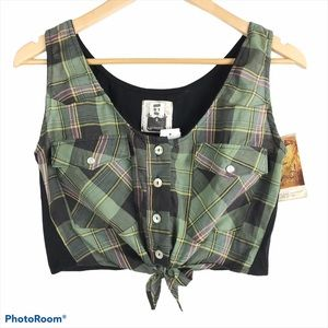 LF Furst of a Kind Cropped Plaid Top OS